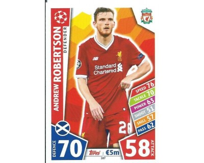 MATCH ATTAX CHAMPIONS LEAGUE 17/18 ROBERTSON LIVERPOOL FC Nº 187