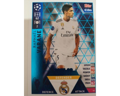 Macht Attax Champions League 2019 VARANE Nº 43