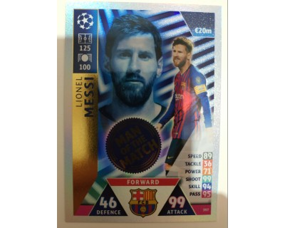 Macht Attax Champions League 2019 MESSI Nº 397 MAN OF THE MATCH