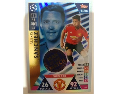 Macht Attax Champions League 2019 ALEXIS SANCHEZ Nº 406 MAN OF THE MATCH