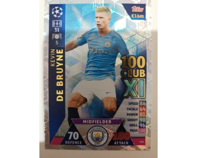 Macht Attax Champions League 2019 DE BRUYNE Nº 434 100 CLUB