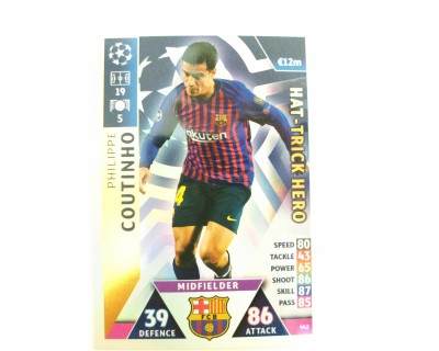 Macht Attax Champions League 2019 COUTINHO Nº 442 HAT-TRICK HERO