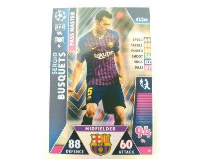 Macht Attax Champions League 2019 SERGIO BUSQUETS Nº 10 PASS MASTERS