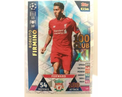 Macht Attax Champions League 2019 FIRMINO Nº 439 100 CLUB