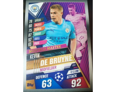 Match Attax 101 2019/2020 DE BRUYNE MIDFIELD MASTER 1
