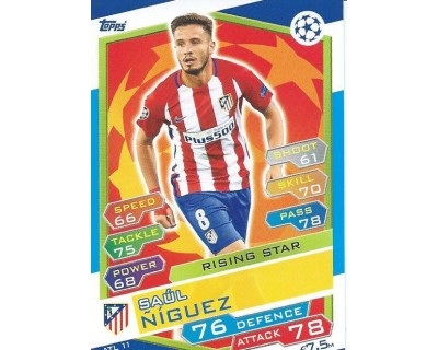 MATCH ATTAX U.C.LEAGUE 2016/2017 ATLETICO DE MADRID Nº 11 RISING STAR