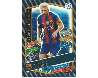 MATCH ATTAX U.C.LEAGUE 2016/2017 LIMITED EDITION MESSI GOLD